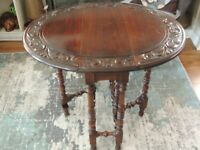1930-40'S  SMALL OVAL DROP LEAF GATE LEG CARVED TOP TABLE