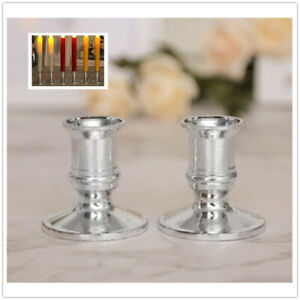 2x Single Straight Taper Candle Stick Holders Table Candles Party Decor