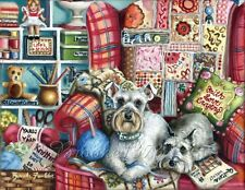 SCHNAUZER painting Giclee ART PRINT puppy QUILT Dogs ART frameable paper CRAFTY