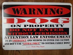 """Metal Warning Dog Sign For FENCE ,Beware Of Dog 8""""x12"""""""