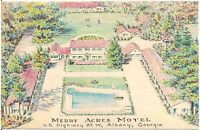 Merry Acres Motel in Albany GA Artist Walter Bowers Postcard