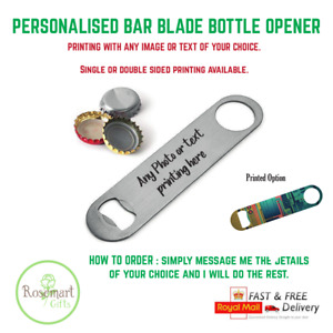 Personalised Custom Printed With Text Stainless Steel Bar Blade Bottle Opener