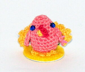 "Tiny Turkey, Peach, 1 1/8"" Tall, Thanksgiving, Bird, Doll, Crochet"