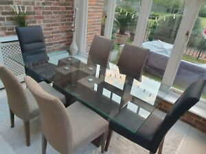 Harveys Piston Glass & Wood Dining Table in Walnut and 6 Chairs