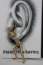 New Women Gold Hanging Guy Male Earring Double Sided Metal Fashion Jewelry Stud