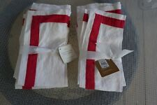 POTTERY BARN NWT BELGIAN FLAX LINEN NAPKINS WHITE/RED FRAME-2 SETS OF 4 FOR SALE