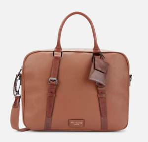 Ted Baker Men's Hooston Leather Document Bag - Tan (Brown), BNWT, RRP £279