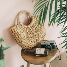 Women Wicker Handbag Bags Totes Beach Straw Woven Summer Rattan Basket Bag Retro