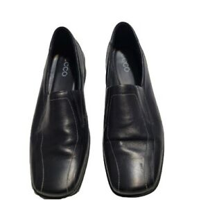 Ecco Women's Size 40 Black Leather Shock Point Slip-On Shoes
