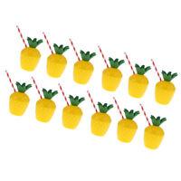12xPlastic Pineapple Drinking Cup Straw Set Hawaiian Luau Summer Party Decor