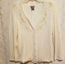 Ann Taylor women cardigan size M beaded design color ivory long sleeve pre owned