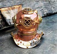 RETRO COPPER POLISH CLOCKS ANALOG DESKTOP CLOCKS MARINE STYLE SCUBA DIVE HELMET