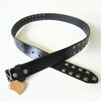 Men Belt Black Big Studded Solid Real Leather Genuine Leather Belt Gurtel