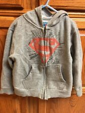Old Navy Youth Small YS Superman Hoodie Full Zip Front Red Grey CollectabiliTEES