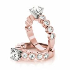 Diamond Engagement Ring 14k Pink Gold Forever One Round Moissanite with Bezel