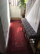 Antique Hall Runner Rug 100% Wool Red Traditional Design Afghanistan
