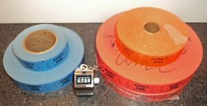 Lot of 5 Admission Raffle Numbered 4300 red 400 blue Ticket Rolls plus Counter