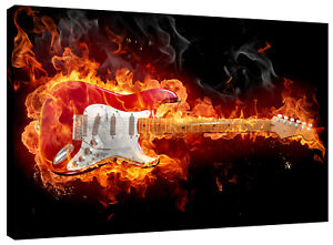 Flaming Guitar Canvas Wall Art Picture Print