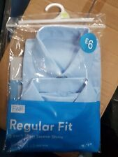 4 Packs of F&F 2x boys school shirt, short sleeve, blue, size 15 - 16  brand new