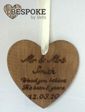 Personalised Wooden Wedding Hanging Heart 5th Anniversary Gift Mr & Mrs Keepsake