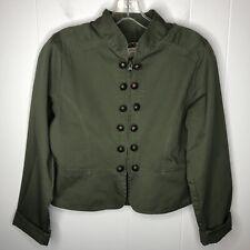 Prototype Women's Military Jacket Size Medium Olive Green Zip Up Peplum Waist