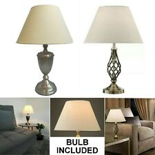 BARLEY LAMP ANTIQUE BRASS SOLID BARLEY TWIST BEDSIDE OFFICE TABLE LAMPS W SHADE