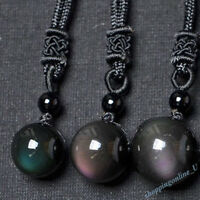Natural Crystal Black Obsidian Necklace Pendant Stone Rainbow Eye Bead Ball Gift