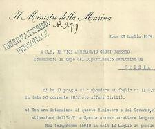 Lettera Autografo Ministro Marina Giovanni Sechi a Ammiraglio Cagni Spezia 1919