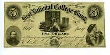 1862.    $5    Carlisle, Pennsylvania First National College Bank.
