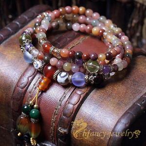 Buddhist Prayer Mala Necklace 5mm Natural Colorful Crystal Quartz Beads Bracelet