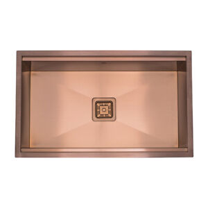 Copper Kitchen Sink Square Drain Single Bowl Stainless Workstation Sink
