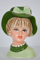 NAPCOWARE Lady Head Vase 8 1/2 C7496 Green Bonnet Hat Pearls Japan