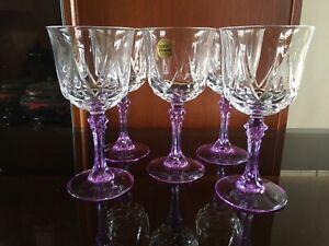 FRENCH CRISTAL D'ARQUES X 5 MAUVE STEM CRYSTAL GLASSES RARE HARD 2 FIND