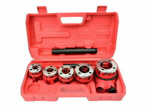 Filiera manuale a cricco Set 8 pezzi per filettatura tubi idraulici con cassetta