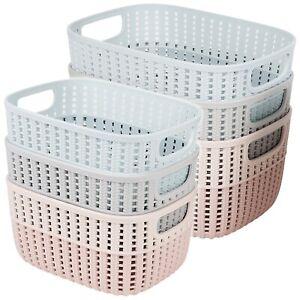 3 Colourful Plastic Storage Box Baskets Set Rattan Wicker Design Container Home