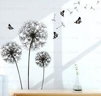 Flowers Dandelion Butterflies Black Wall Stickers Mural Art Decal Living Room