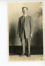 Porterville CA Man—Studio RPPC Antique Mustache Jacket Photo—Tulare County 1910s
