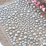 Mixed Self Adhesive Pearl Stickers Silver & Pewter - Flat-back, Pearl, Gems