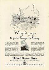 1929 Ocean Liner Leviathan Deck Tennis Game UNITED STATES SHIPPING BOARD Advert