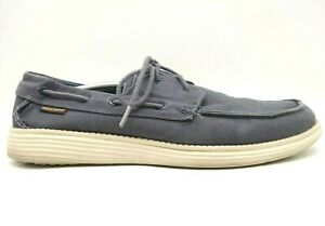 Skechers Relaxed Fit Navy Blue Canvas Lace Up Deck Boat Loafers Shoes Men's 13