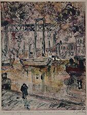 Simon Golberg Rare Monotype Original Port Quais Amsterdam Signé vers 1950