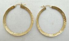 Impresionante 14K Oro Amarillo Diamante Corte Cepillado Detallado Aro Pendientes