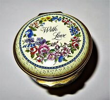 "HALCYON DAYS ENGLISH ENAMEL BOX - FLOWERS & ""WITH LOVE"" - ANNIVERSARY"