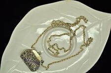 "925 STERLING SILVER 26"" MARCASITE CLIP PURSE THICK CABLE CHAIN NECKLACE X18395"