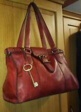 FOSSIL LARGE BURGUNDY RED GENUINE  LEATHER SHOULDER BAG with FOSSIL KEY CHARM