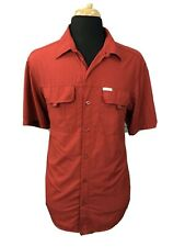 Columbia Mens Omni-Shade Shirt Sun Protection Short Sleeve Hiking Red Sz Large