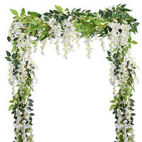 4PCS Artificial Flowers Silk Wisteria Ivy Vine Wedding Arch Floral Home Decor