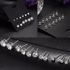 6 Pairs Men &Women  Hot Ear Studs 6 Sizes 3-8mm Zircon Earrings Rhinestone Pop
