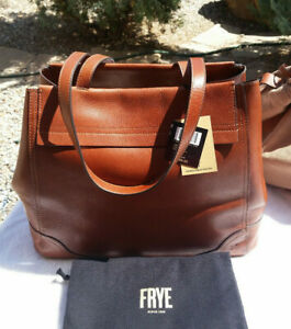 FRYE CHARLIE CARRYALL TOTE WITH REMOVABLE POUCH COGNAC NWT