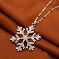 "Vintage 14k White Gold Over Silver Snowflake Pendant 18"" Rope Chain Necklace"